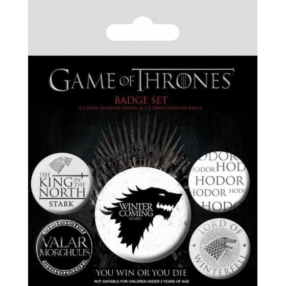 Set di spille - Badges 5 Pack Winter Is Coming - Game of Thrones